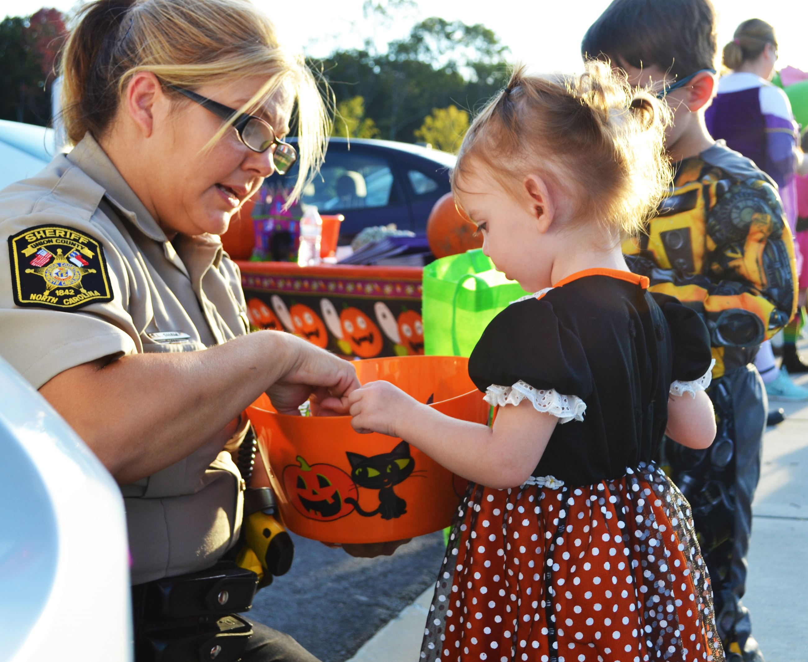 A child getting candy