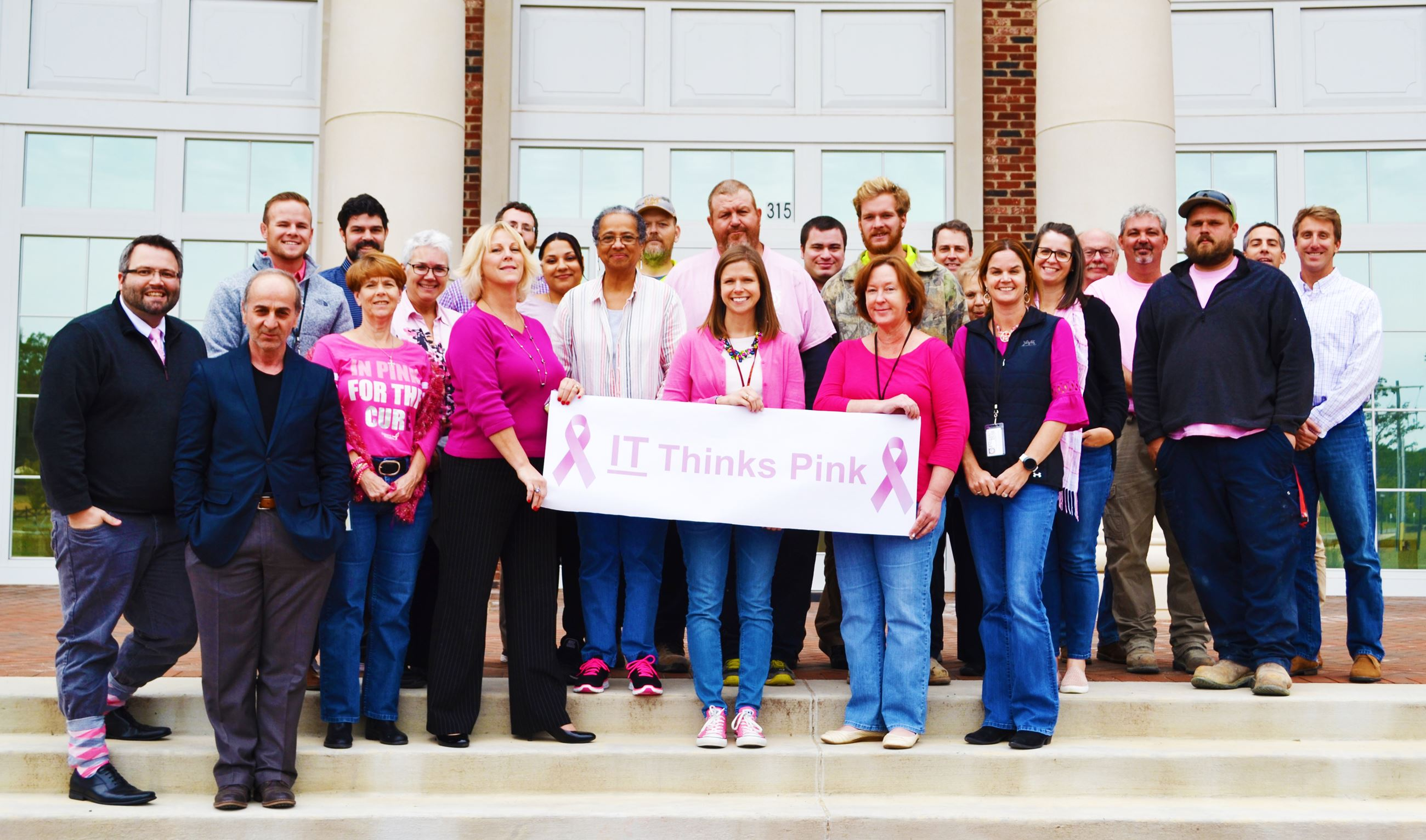 Indian Trail staff wearing their pink