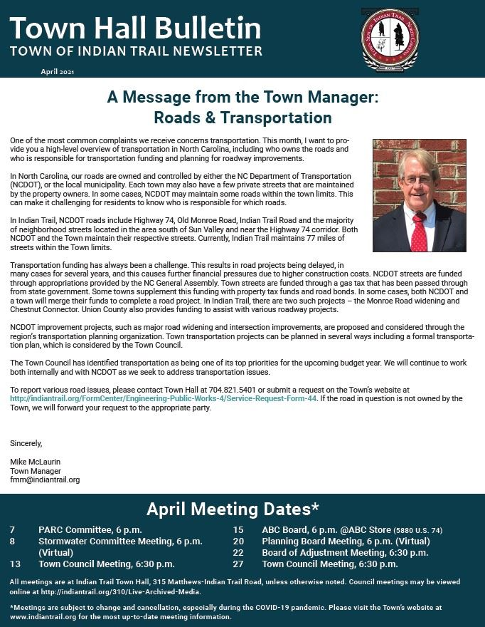 April 2021 Town Hall Bulletin Cover