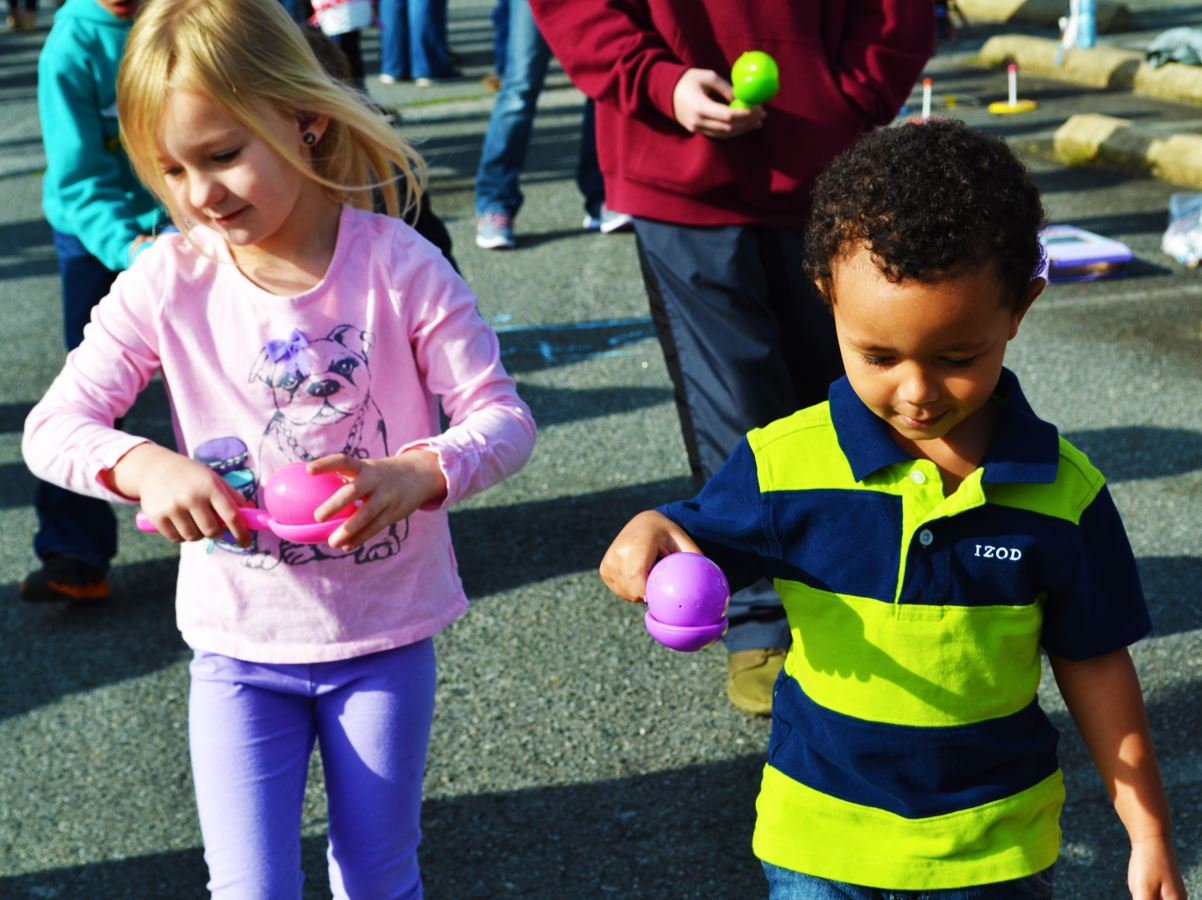 Kids take part in an Easter game