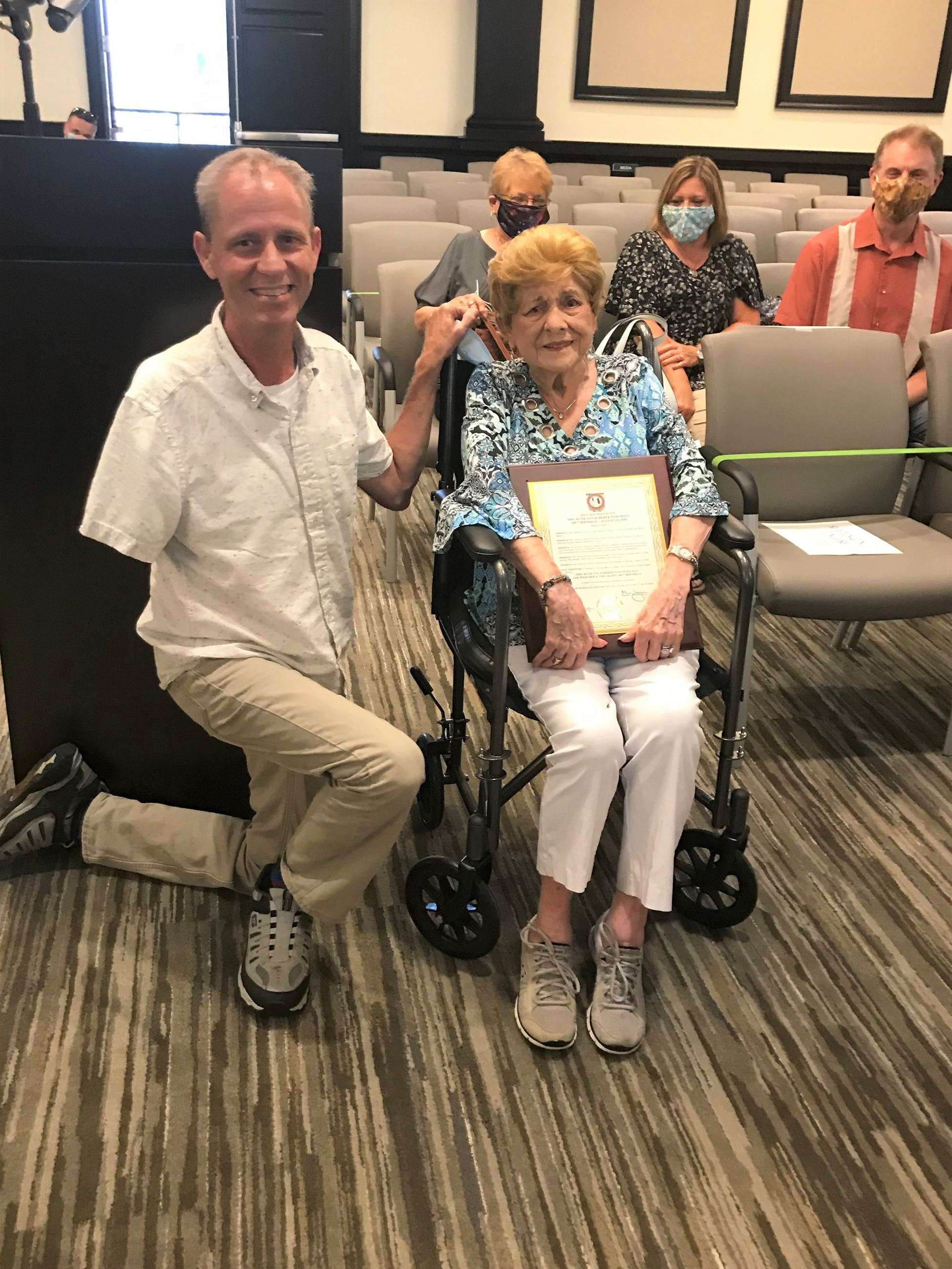 Ruth Ann Scherer Pawowitz Receives 100th birthday proclamation from Mayor Michael Alvarez