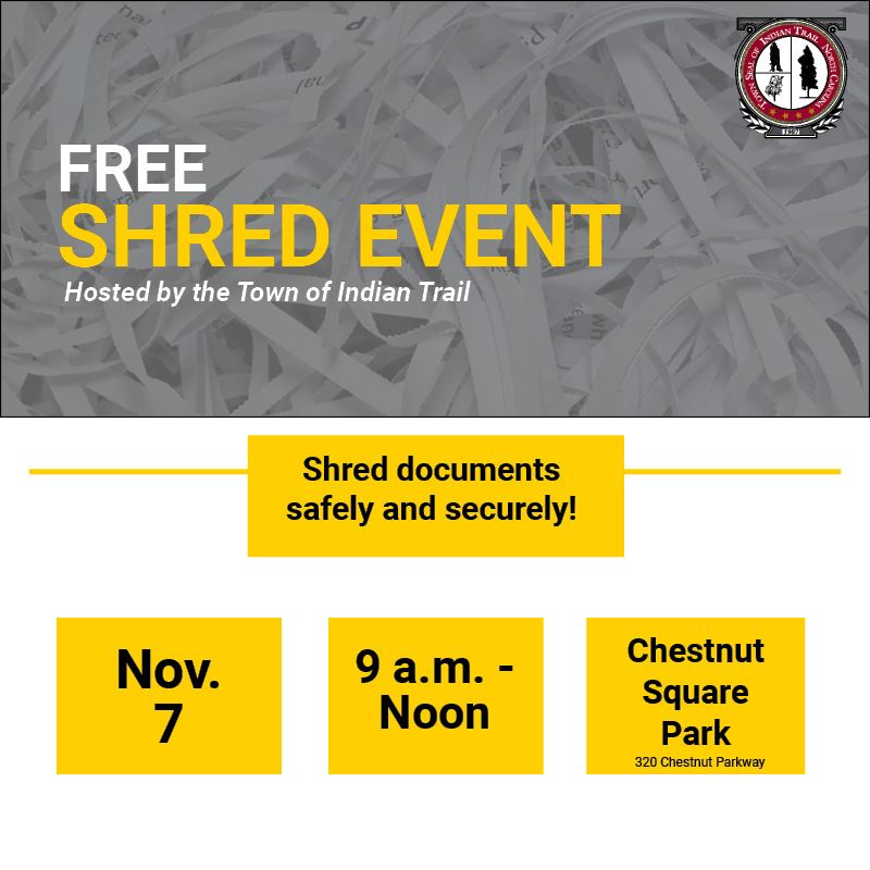 Free Shred Event on Nov. 7 at 9 a.m.