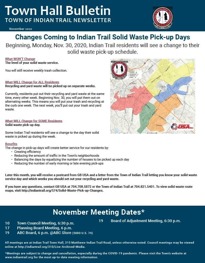 November Town Hall Bulletin Cover Page