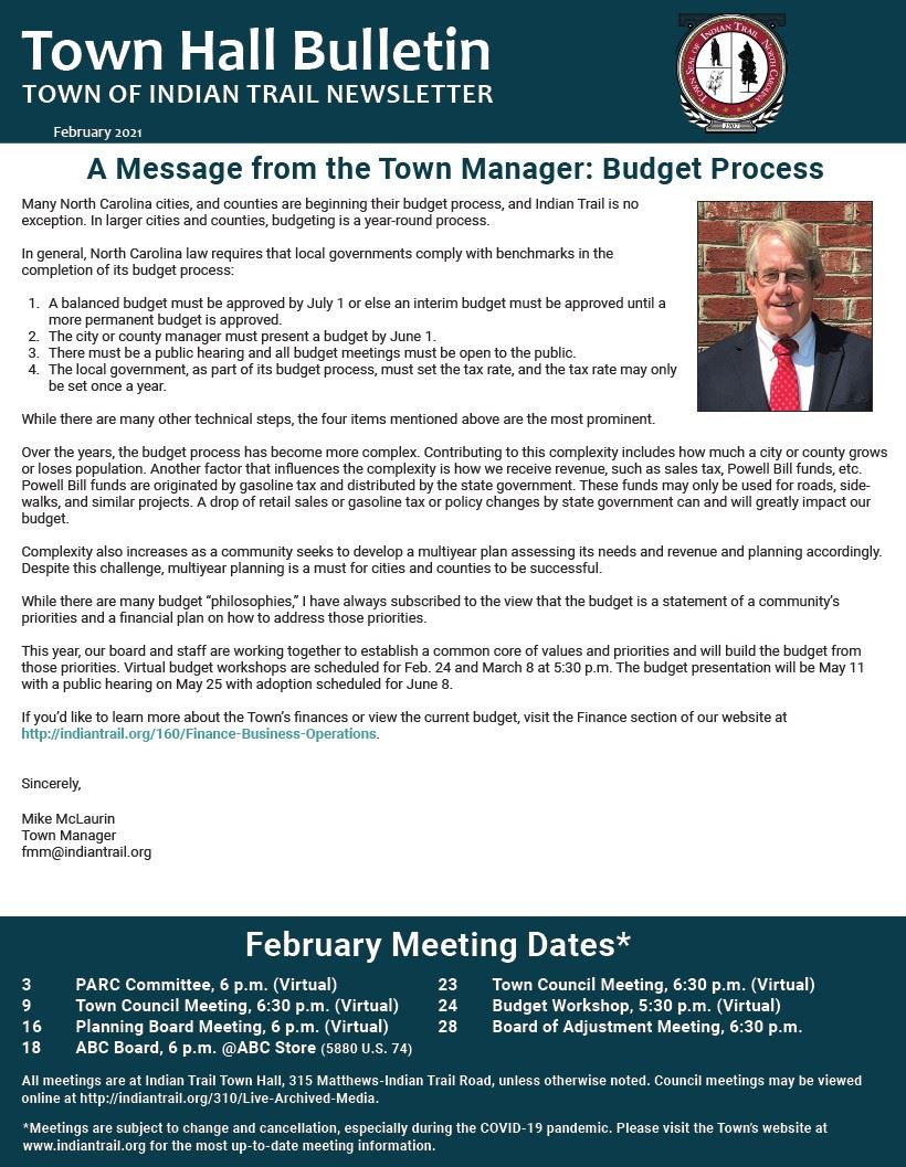February 2021 Town Hall Bulletin Cover